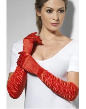 Długie czerwone rękawiczki marszczone