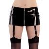 Winylowa mini spódnica z paskami do pończoch M