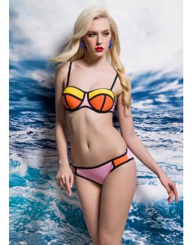 Bikini neonowe BL0066 pomarańczowo - żółty