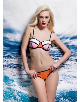 Bikini neonowe BL0066 biało-rózowy