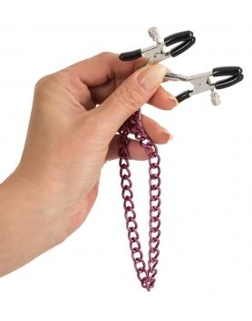 Zaciski na sutki z fioletowym łańcuszkiem